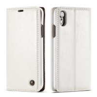 iPhone Leather Wallet Stand Case White