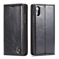 iPhone Leather Wallet Stand Case Black