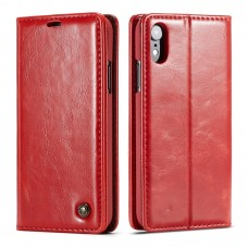 iPhone Leather Wallet Stand Case Red