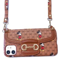Gucc Diagonal saddle Mickey Wallet Case For iPhone