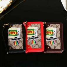 GG  Embroidery iPhone Wallet Case Leather Cover