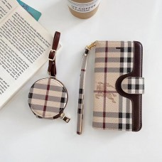 Burberry Style iPhone Wallet Case AirPods Bag
