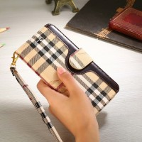 Luxury Burber Leather iPhone Wallet Case Stand Cover