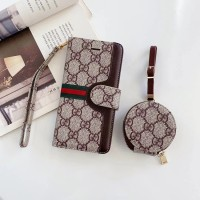 Gucc Style iPhone Wallet Case AirPods Bag Brown