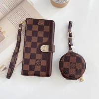 Damier LV Style iPhone Wallet Case AirPods Bag Brown