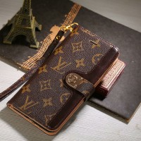 Luxury LV Monogram Leather iPhone Wallet Case Stand Cover Canvas